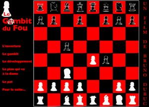 Image conçue pour le site officiel : jeu d'échec rouge et noir ; quelques pions sont avancés. La lettre a du mot gambit est le symbole anarchiste classique. « Un film de Burno Dubuc ».