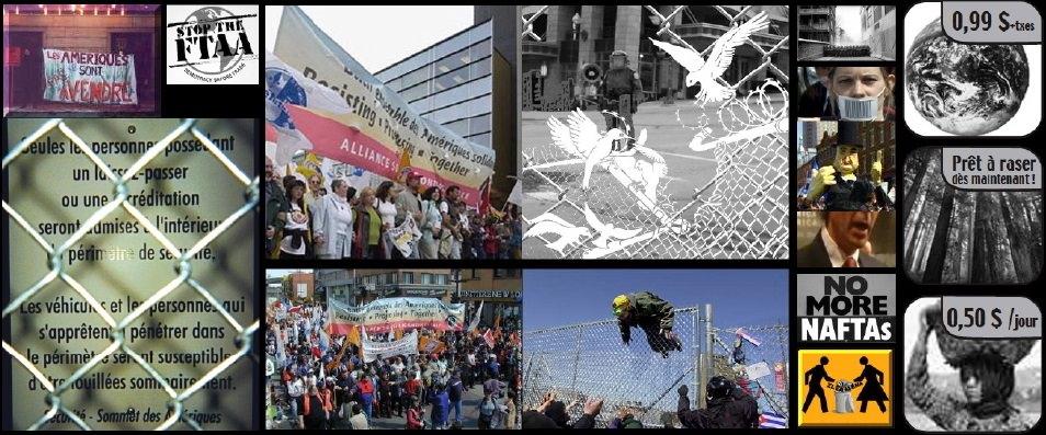 Mosaïque de 16 photos et images issus de la contestation contre ledit Sommet des Amériques en 2001 à Québec. Il y a deux manif colorées ; trois de clôtures dont la plus visible a un dessin superposé d'oiseaux blancs brisant la clôture ; ainsi que plusieurs petites photos et images représentant l'injustice sociale.