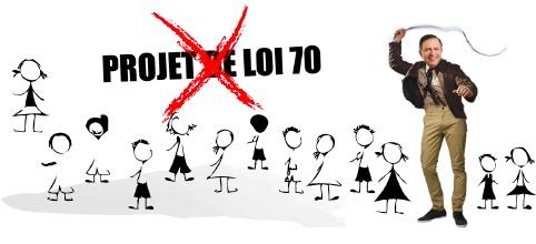 Bannière web : photo du ministre, avec un fouet, entouré de dessins de petits bonhommes (femmes/hommes). Un X rouge sur les mots PROJET DE LOI 70.