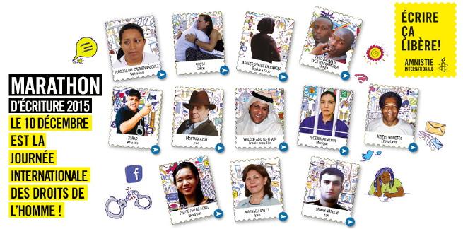 Bannière web : dix portraits de personnes emprisonnées pour leurs opinions, montés sur des formes de timbres postaux. Écrire ça libère ! Le 10 décembre est la Journée internationale des droits de l'Homme ! Dessins aussi de menottes, lettres, etc.