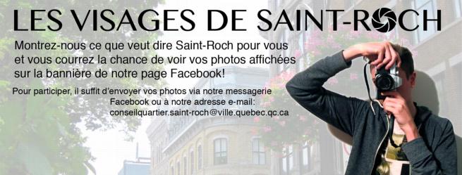Bannière web : un jeune homme prend une photo... de vous !  Son visage est caché par sa caméra. Montrez-nous ce que dire St-Roch et courrez la chance de voir vos photos sur la page Facebook du Conseil...