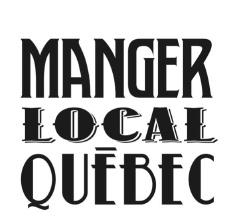 Logo simple : les mots Manger Local Québec, en grandes lettres de style un peu western.