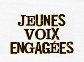 Jeunes voix engagés - grandes lettres foncées, de tailles discordantes. Tiré du vidéo.