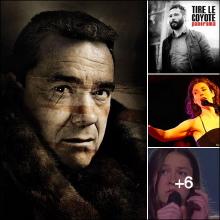 Montage de quatre photos des artistes, surtout Forent Vollant, portant un manteau de fourrure. Tire Le Coyote, etc.
