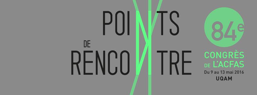 Bannière web sur fond gris : Points de rencontre [les deux n sont des croisements de lignes vertes]. 84e édition. 9 au 13 mai 2016.