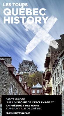 Image tirée du dépliant de Québec History X : photo vue du bas du quartier historique en montant vers le Château Frontenac. Le ciel a des rayures blanches et un gros X blanc.