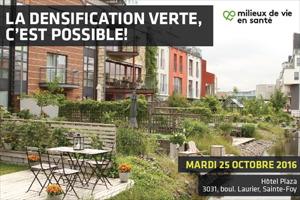 Affichette : plusieurs terrasses arrières, vertes et sympathiques, de domiciles alignés.