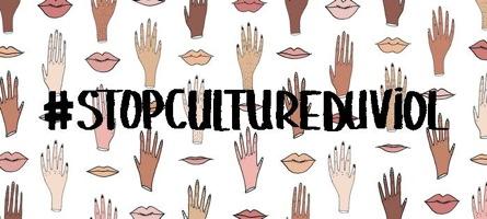 Image sur fond de dessins de mains et de lèvres : #StopCultureDuViol