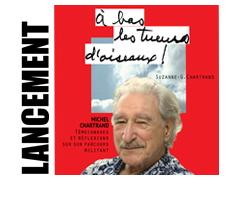 Affichette : petit portrait de Michel aux cheveux blancs, légère moustache, regard souriant. Sur fond rouge et derrière une photo de nuages.