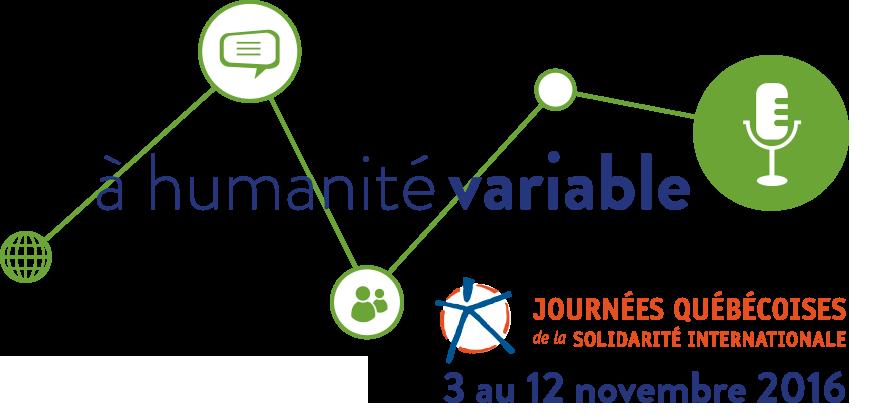 Bannière des JQSI 2016 : une ligne verte fait le lien entre quatre icônes : globe terrestre, bulle de paroles, symbole de clavardage, microphone. « à l'humanité variable » - 3 au 12 novembre 2016.