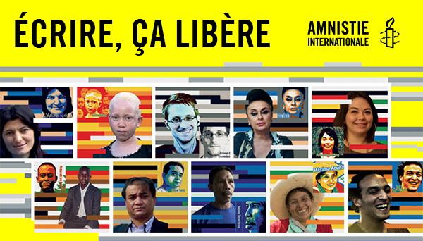 Bannière Internet 2016 sur fond jaune : dix portraits combinés chacun avec un dessin stylisé de la personne. On reconnaît Edward Snowden d'aileurs. Écrire, ça libère !  AI