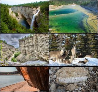 Six belles photos de l'Île d'Anticosti : chute blanche à travers une forêt de sapins; baie verte au soleil; falaises rocailleuses le long d'une rivière naturelle; groupe de chevreuils sur la neige; vieux bateau échoué, en bois foncé; fossile blanc sur une pierre.