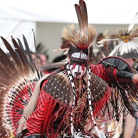 Photo : costume rouge couvert de grandes plumes sur les épaules et à l'arrière. Son maguillage et noir et blanc avec des marques rouges sous les yeux.