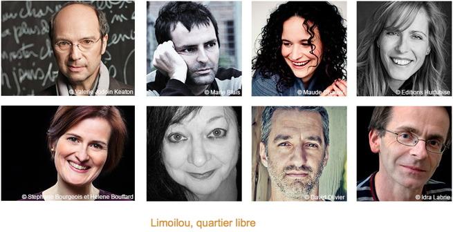 Bannière web : huit petits portraits couleurs officiels des écrivain.es : François Blais, Nicolas Chalifour, Véronique Côté, Max Ferandon, Marie-Renée Lavoie, Anne-Marie Olivier, Sylvie Nicolas, ainsi que Michel Rivard.