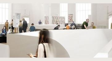 Affichette tirée du site de la Maison : une dizaine de personnes utilisent la grande salle blanche du lieu. Un effet de flou entour la photo.