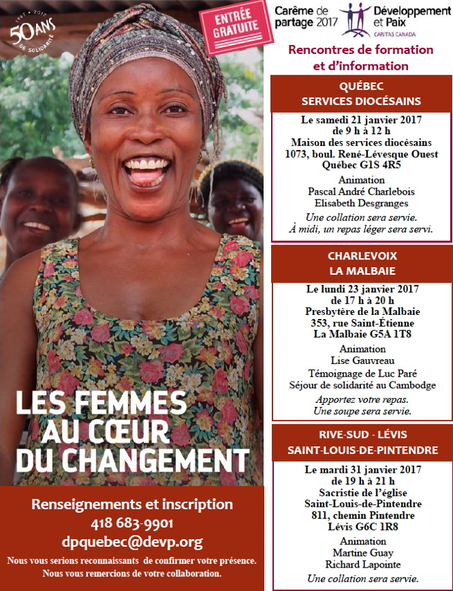 Affiche sur fond rouge vin : Les femmes au coeur du changement. Grande photo d'une femme noire, au grand sourire, en robe fleurie.  Derrière elle, on voit les visages de deux enfants aussi souriants. Les détails sont transcrits dans les annonces sur ce média.