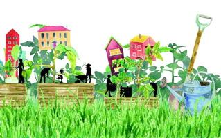Peinture très saturée en couleurs : gazon géant et vert intense, maisons et tours rouge, rose, etc., bancs de parcs, et une pèle de jardin.