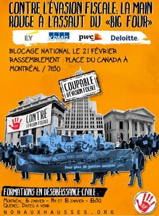 Affiche fond orange : montage photo où une foule tentant une grande bannière se tient devant trois grands bâtiments gris : Coupable d'évasion fiscale. Au bas, logo: empreinte rouge d'une main ouverte.