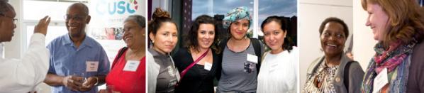 Trois photos : trois personnes souriantes discutent devant un panneau CUSO. Elles sont la peau noir. Quatre jeunes femmes regardent la caméra : elles ont des origines latines diverses. Une dame au visage africain souriant avec une dame rousse blanche.