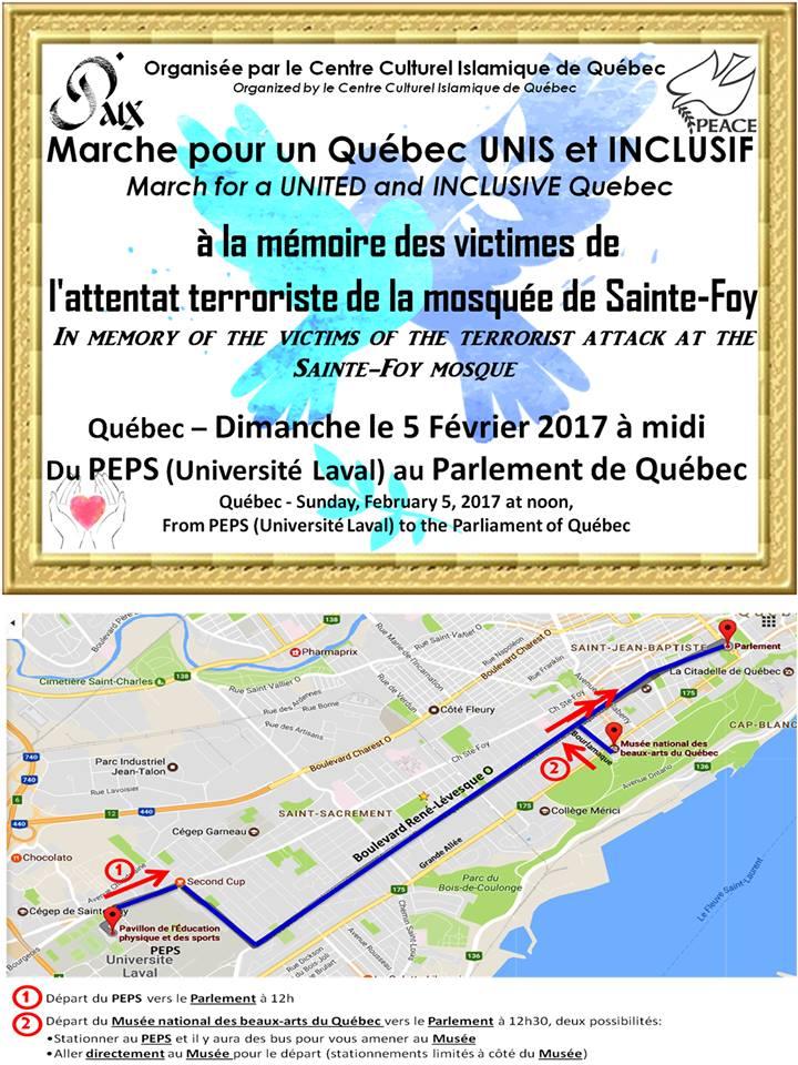 [Affiche dans un cadre d'oré de peinture: deux oiseaux bleus derrière le texte. Les mots Paix et Peace au haut.  Organisée par le CCIQ. Marche pour un Québec UNIS et INCLUSIF. March for a UNITED and INCLUSIVE Québec. À la mémoire des victimes de l'attentat terroriste de la mosquée de Sainte-Foy. Le trajet est nommé et il y a une carte.]