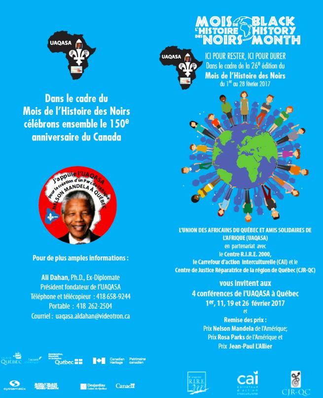 Affiche pour les quatre conférences, sur fond bleu ciel : dessin d'un globe terrestre sur lequel se tiennent, autour du monde, une vingtaine de petits personnages multicolores.  Portrait de Nelson Mandela.  Logo de l'UAQASA : continent africain noir avec Fleur de lys blanche.