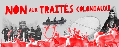 Bannière sur fond de photos en noir et blanc : canot avec trois personnes ; groupe de huit autochtones bloquant une route ; tambourin. En rouge et superposé, des orignaux (Élans d'Amérique) se déplacent en groupe.