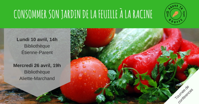 Affiche : beau panier d'osier brun contenant des légumes colorés, surtout des petites tomates. Logo du Comité Sauve Ta Bouffe.