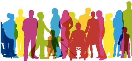 Image : quinze ombres de personnes différentes, chacune d'une couleur unie et un peu transparente. Femme, homme, enfants, personne en chaise roulante, etc.
