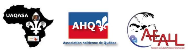 Les trois logos : UAQASA (continent africain noir, fleur de lys blanche), AHQ : Association haïtienne de Québec, AEALL : Association des étudiants antillais de l'université Laval.