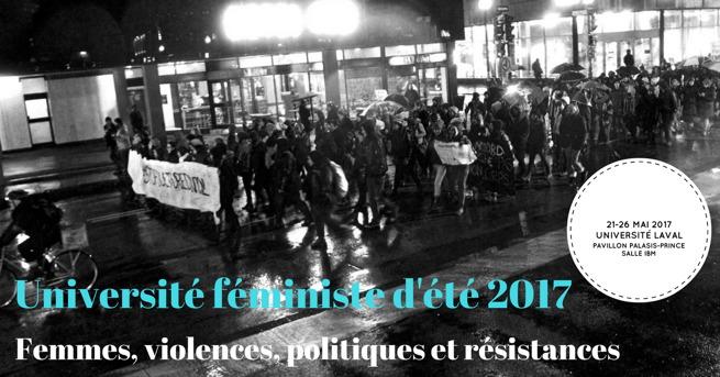 Bannière sur fond d'une photo en noir et blanc d'une manifestation la nuit, probablement à Montréal.