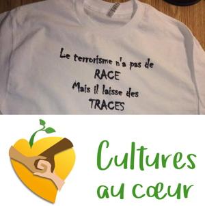 Photo d'un T-Shirt blanc avec la phrase : Le terrorisme n'a pas de RACE, mais il laisse des TRACES.</body></html>