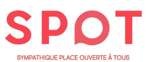 Logo 2017 : SPOT en lettres rouges. Le O a une tige comme une bulle de paroles.
