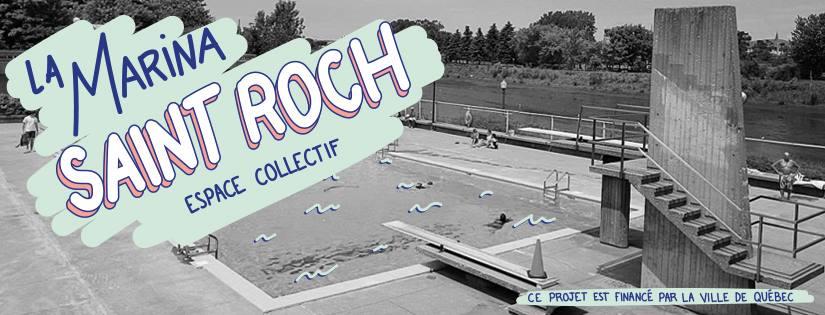 Bannière sur fond d'une photo en noir et blanc de la piscine : La Marina Saint-Roch Espace collectif
