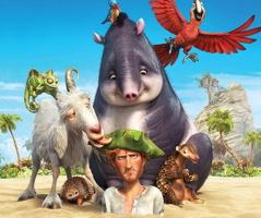 Affichette pour le film : un homme, dont seul le haut du corps ressort du sable, est entouré d'animaux aimables : mouton des montagnes, perroquets, etc.