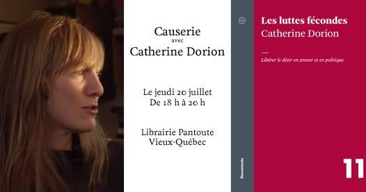 Affichette par la Librairie Pantoute du Vieux-Québec : profil droit du visage de Catherine Dorion, cheveux long roux. Page couverture du livre : simple fond cramoisi (couleur rouge-mauve ou rosée).