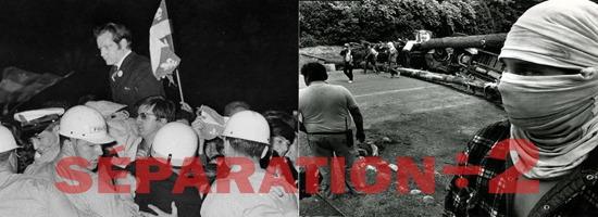 Deux photos, en noir et blanc, côte à côte : le réputé Bourgault, soutenu au-dessus par une foule, dont des travailleurs de construction, drapeaux du Québec ici et là. // Un jeune homme a soigneusement caché son visage au complet avec un tissu de cotton. Lui et d'autres sont en mouvement devant un blocage composé de grands arbres couchés au sol.