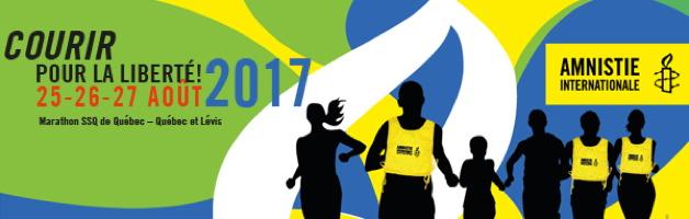 Affichette à l'horizontale sur fond vert : dessin d'ombres noirs de coureurs / coureuses avec des dossards jaunes. Logo d'AI sur fond jaune.
