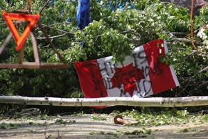 Photo, sur fond d'une barricade d'arbres feuillus de forêt boréale : un drapeau canadien est accroché à l'envers avec les mots « This </body></html>