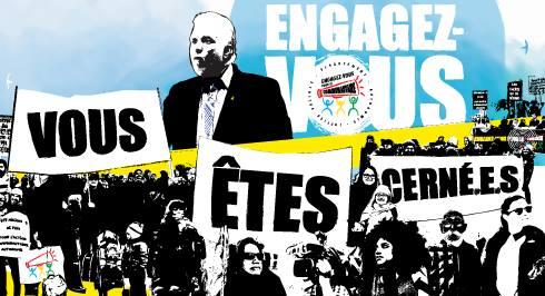 Dessin-montage : « Engagez-vous », « Vous ... êtes ... cernés / cernées ! ». Sur fond de ciel bleu, des ombres noirs de personnes manifestant, mais aussi du premier ministre Couillard.