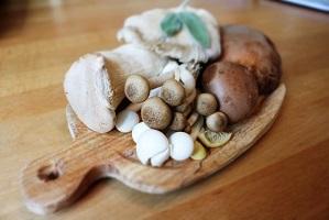 Photo: plusieurs types de champignons comestibles placés serrés sur un mini-plateau en bois en forme de noisette, sur une table en bois.