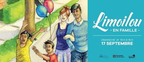 Bannière web : dessin coloré d'une famille sur une rue l'été. Jeune fille les bras levés vers le ciel; jeune garçon amusé ; jeune couple et ballons colorés. Gazon vert et un arbre.