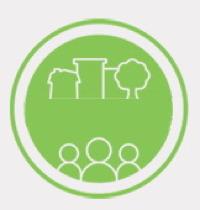 Logo du Comité des citoyens et citoyennes du quartier Saint-Sauveur : sur un cercle vert pomme, une ligne trace les formes de maisons et d'un arbre. En-dessous, des cercles symbolisent trois personnes côte-à-côte.