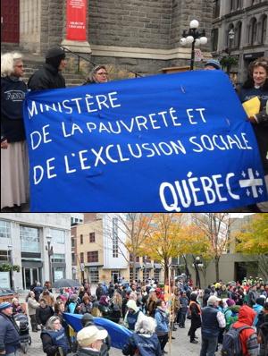 Deux photos: 1) devant un mur de l'église Saint-Roch, des membres de l'ADDS-QM, dont Monique, tiennent une banderole « Ministère de la pauvreté et de l'exclusion sociale - Québec ». 2) Foule sur le parvis, environ 200 visibles ; arbres aux couleurs d'automne.