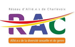 Logo : RAC. Le r est mauve ; le a est bleu foncé ; le c est vert. Deux lignes courbes, rouge et jaune, traversent les trois lettres. « Allié.e.s de la diversité sexuelle et de genre ».