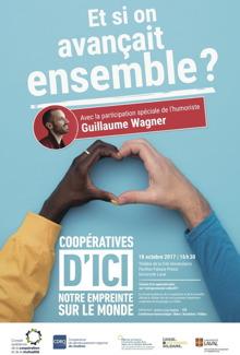 Affiche sur fond bleu ciel : « Et si on avançait ensemble ? ». Plusieurs logos de regroupements coopératifs du Québec et aussi de l'Université Laval.