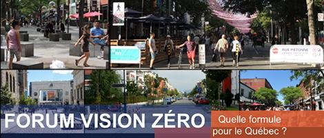 Affichette : six photos de gens marchant et jouant sur les rues à Québec l'été.