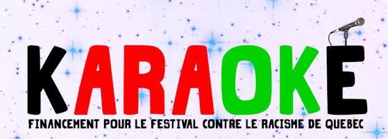 bannière sur fond de dessins de petites étoiles bleues et mauves. KARAOKÉ, écrit en lettres colorées en rouge et vert vifs. La lettre É est surmontée d'un micro.