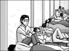 Dessin : un jeune adulte assis, aux cheveux noirs semi-longs, dans un dortoir où il y a environ huit autres personnes qui dorment, surtout des femmes.