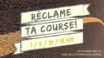 Affichette sur fond d'une ligne jaune sur le pavé d'une rue. 1 / 5 / 10 / 15 Km. 28 octobre 2017, 9 h, Parc de la Pointe-aux-Lièvres