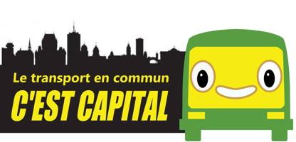 Bannière : ombre noir de la ville de Québec (Château Frontenac, Complexe G, etc.). Autobus vivant (visage), jaune, à grand sourire. Le transport en commun, C'EST CAPITAL (grandes lettres jaunes).